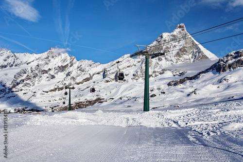 Poster Mountain skiing - view at Matterhorn, Italy, Valle d'Aosta, Breuil-Cervinia, Aos