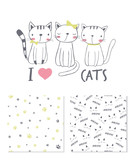 I love cats. Surface design and 2 seamless patterns