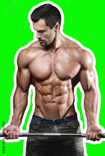 Leinwanddruck Bild Handsome power athletic man on diet training pumping up muscles