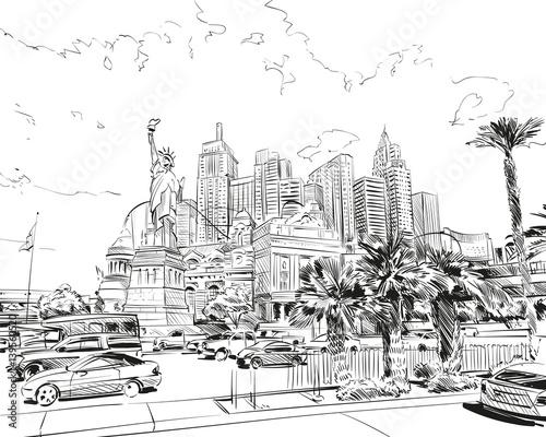 Fototapeta Las Vegas city hand drawn.USA. Nevada. Street sketch, vector illustration