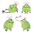 Set of cute watercolor prince frogs isolated on white. Vector illustration.