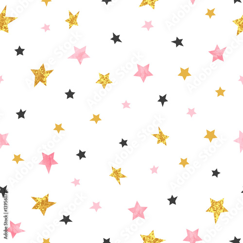 Stars pattern. Vector seamless background with watercolor pink and glittering golden stars. - 139560721