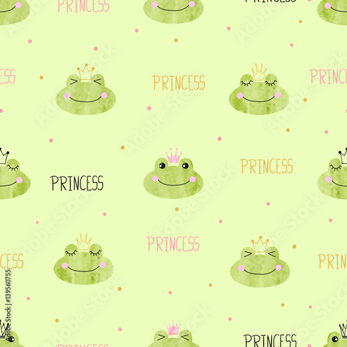 Cotton fabric Seamless pattern with cute princess frogs. Vector background for kids.