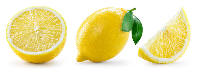Lemon with leaf isolated on white background. Collection © Tim UR