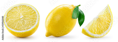 Lemon with leaf isolated on white background. Collection - 139563148