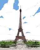 France. Paris. Eiffel Tower hand drawn sketch. Vector illustration.