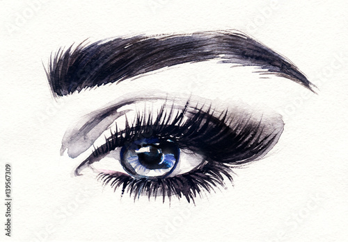 Eyes. Woman face. Fashion illustration. Watercolor painting