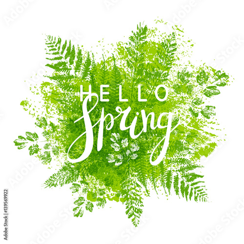 Fototapeta Spring background with green leaves