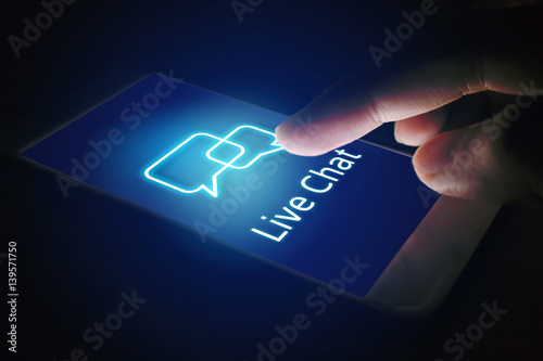 Live chat technology concept, woman hand pressing virtual screen on smartphone Poster