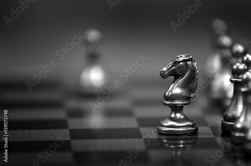 Leinwanddruck Bild Chess Pieces on Board for Game and Strategy