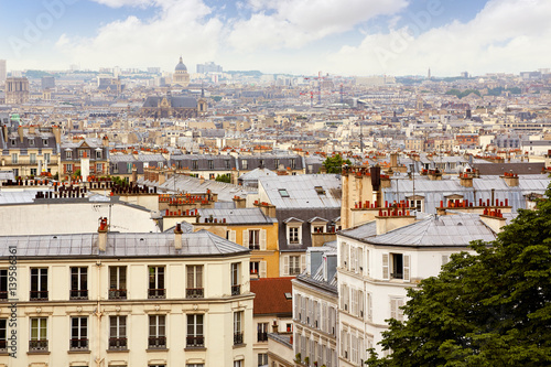 Poster Paris skyline aerial from Montmartre