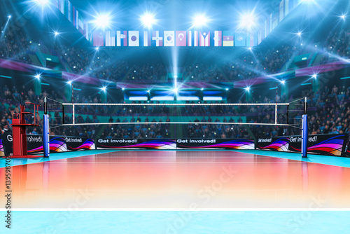 Fototapeta Empty professional volleyball court with spectators no players
