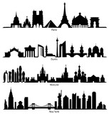 Set of vector Skyline silhouette