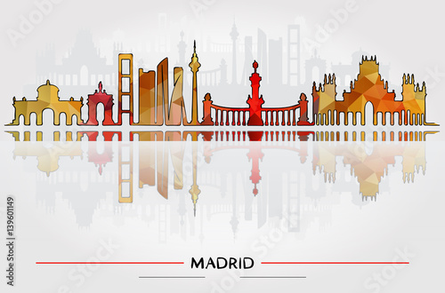 Business Travel and Tourism Concept with Historic Buildings of Madrid