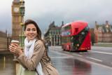 Woman Drinking Coffee on Westminster Bridge, Big Ben, London, England