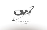 ow o w  swoosh grey alphabet letter logo - 139611989
