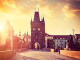 Charles bridge tower in Prague on sunrise