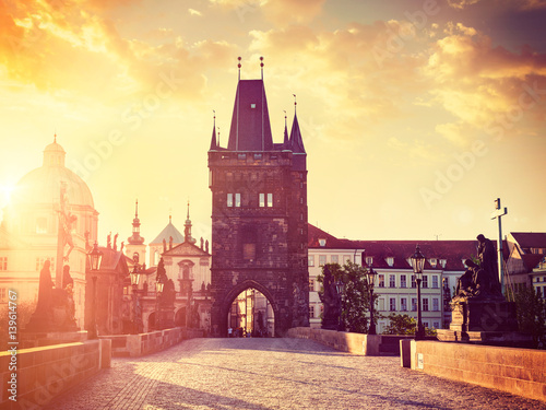 Poster Charles bridge tower in Prague on sunrise