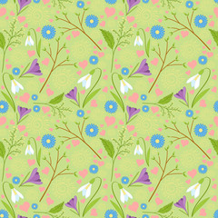 Spring pattern vector seamless. Fresh green springtime pattern with flowers - snowdrop, crocus, tulip, yellow mimosa and blue daisy - sun, branch with buds and hearts.