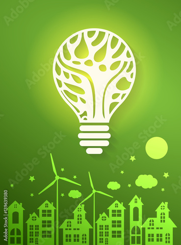 Green eco city with dry tree in light bulb eco concept ,vector illustration