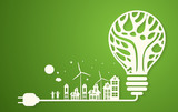 Green eco city with dry tree in light bulb eco concept ,vector illustration - 139639753