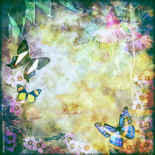 Foto op Canvas Vlinders in Grunge Vintage floral background with Australian butterflies. Colorful aged canvas textured background. Copy space for text.