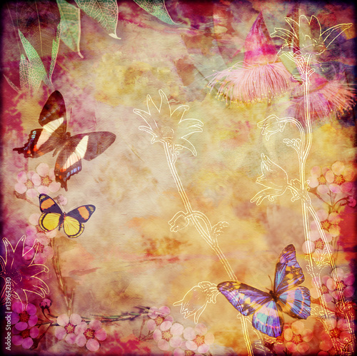 Poster Vlinders in Grunge Vintage floral background with Australian butterflies. Colorful aged canvas textured background. Copy space for text.
