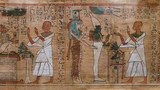 antique hieroglyphs on Egyptian papyrus - 139645913