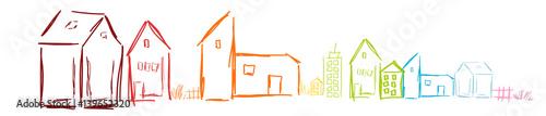 Papiers peints Blanc Haus Häuser Band Banner Bunt Farbig