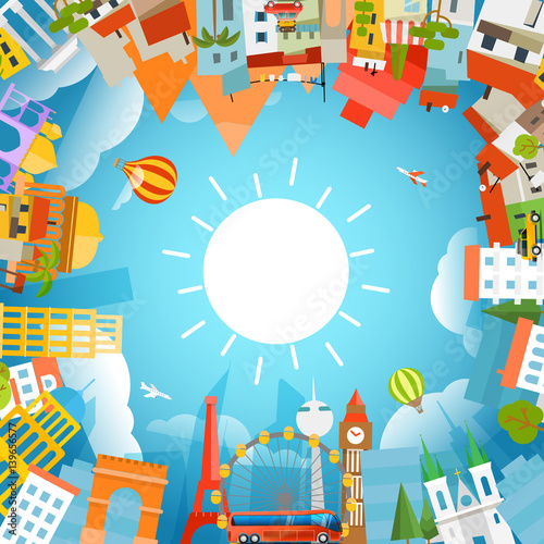 Sticker World famous signts silhouettes. Travel concept vector illustration