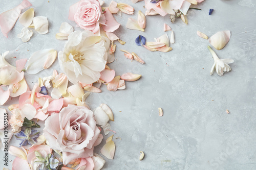Composition of flowers on grey background - 139657535