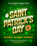 Saint Patricks Day party poster design, 17 March nightclub invitation with gold shining lettering on wooden background
