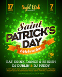 Saint Patricks Day party celebration poster, banner design. 17 March nightclub invitation with lettering on bright green clover background
