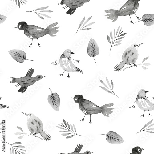 Materiał do szycia wzór z ręcznie rysowane sowy i kwiaty
