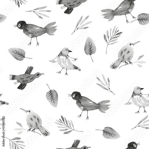 Materiał do szycia seamless pattern with hand drawn owls and flowers