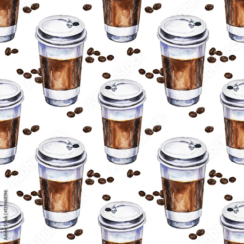 Watercolor seamless pattern with disposables cups of coffee and coffee beans. Hand painted illustration. - 139668196