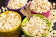close up view of popcorn in bowls and movie tickets, Movie time concept