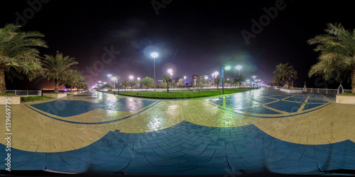 Foto op Canvas Abu Dhabi 360 degrees spherical panorama of the abu dhabi (UAE) corniche at night with view of the skyline