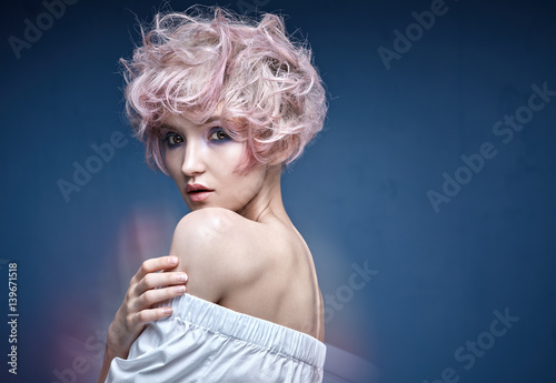 Foto op Aluminium Artist KB Closeup portrait of a cute girl with a pink hairstyle