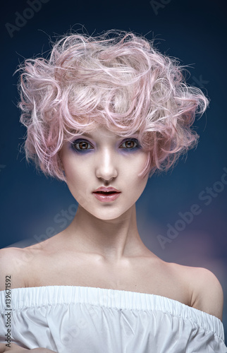 Foto op Aluminium Artist KB Portrait of a girl with fluffy, curly coiffure