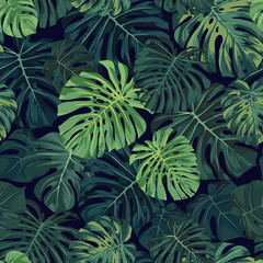 Seamless vector tropical pattern with green monstera palm leaves on dark background. Exotic hawaiian fabric design.