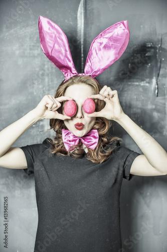 Osterfrau bunny Poster