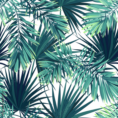 Tropical background with jungle plants. Seamless vector tropical pattern with green phoenix palm leaves.