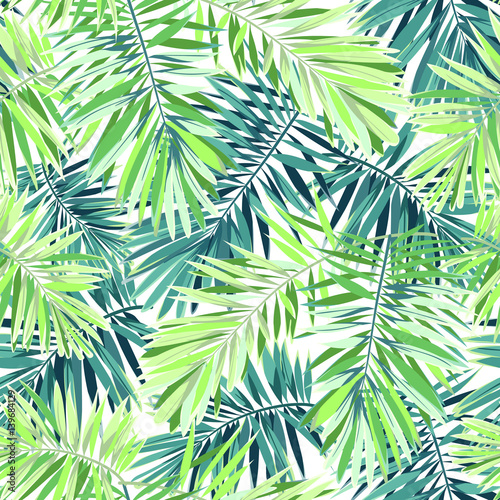 Naklejka na szybę Bright green background with tropical plants. Seamless vector exotic pattern with phoenix palm leaves.