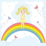 Beautiful cute girl  princess sitting on the rainbow