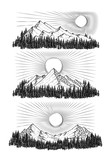 Hand drawn illustration the mountains