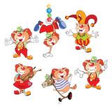 Set Cartoon Illustration. A Cute Cats Clowns for you Design