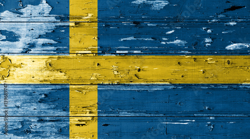 Fotobehang Stockholm Sweden flag on wood texture background with old paint peels