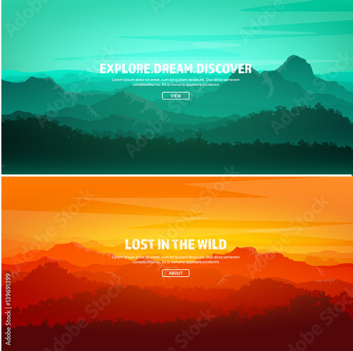 Mountains and forest. Wild nature landscape. Travel and adventure.Panorama. Into the woods. Horizon line.Trees,fog,wood.Backgrounds se
