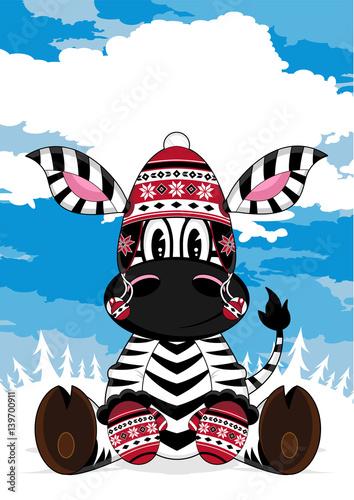 Cute Cartoon Wooly Hat Zebra